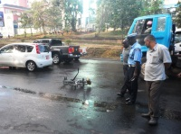 An accident involving a cyclist and a private car near Museum Hill Roundabout in Nairobi. (Dennis Omido, News24)