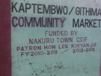 The newly finished Kaptembwo Community Market in Nakuru West, The projected was initiated by the former Nakuru MP Lee Kinyanjui under the CDF kitty. The Market has a holding capacity of 90 traders. (Wilshere, News24 user)