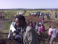 Four  people died on Tuesday morning  following a greasily road accident involving a personal car and a lorry near Salgaa trading center along the busy Nakuru-Eldoret highway.The three people who died are said to have been all women and that they were travelling in the personal car heading towards Nakuru town.