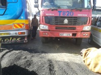 Residents block highway after car knocks down girl at Burnt forest. They unblocked the road after China Wu Yi installed bumps on the road (Tony Karomo, News24 user)