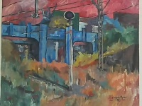 phumulong station bridge, acrylics on canvas
