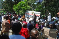 Hawkers in Nakuru town demonstrate over harassment by the county workers.