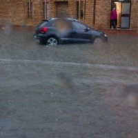 Cars stuck in heavy rain In Welkom