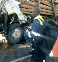 Media release A man has been killed after a crash involving two trucks on the R34. (Robert McKenzie, KZNEMS)
