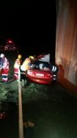 Two men were injured early this morning after a car drove off a bridge on the N2 in Umgabba in Durban South. (Russel Meiring, ER24)