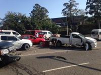 Three people were left injured this morning following a collision between a bakkie and SUV at the Otto Volk and Nipper Road intersection in New Germany, KwaZulu Natal. (Russel Meiring, ER24)