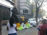 """Greepeace activists have built a """"nuclear reactor"""" outside Matimba building,  Energy Department offices in Pretoria in protest against nuclear energy in South Africa"""