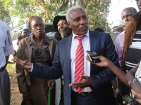 The National Alliance (TNA) party Nyeri chairman, Thuo Mathenge addressing media. He was questioned by police on allegations that he insulted and threatened Kieni MP Kanini Kega. (Joseph Njung'eh, News24 User)