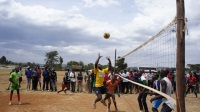 Volleyball teams of Mweiga town and King'ong'o during a match at Mweiga Wembley stadium in Nyeri