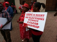 Supporters on the Movement For Democratic Change led by Morgan Tsvangirai took demonstrations to the Zimbabwean Embassy in Pretoria, telling Robert Mugabe to go on his birthday.
