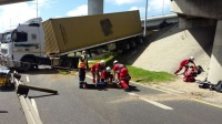 Two men were injured this morning after their truck drove off the bridge at the N1 Koeberg interchange in Cape Town. (Russel Meiring, ER24)