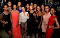 The 12 excited Miss South Africa 2015 finalists huddle together backstage at the Sun City Superbowl on Thursday afternoon.