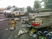 A man has tragically died and another was seriously injured after a car and a truck with mielies collided on the N6 about five kilometres out of Bloemfontein. (Chris Botha, Netcare 911)