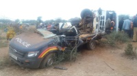 this is the remains of what used to be a police cat atached to Nguutani police station in Mwingi. A police officer died in the accident with three others seriously injured.