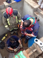 Netcare 911 paramedics received a call for workers that was stuck in a pipe at a construction site in Eshowe. (Chris Botha, Netcare 911)